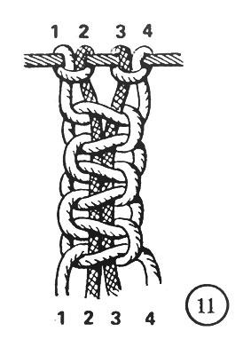 Рис. 11. Количество квадратных узлов в цепочке можно посчитать по замочкам