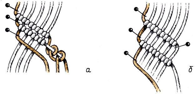 Рис. 35. Наклонные параллельные бриды, расположенные вплотную одна к другой (а) и на расстоянии одна от другой (б)