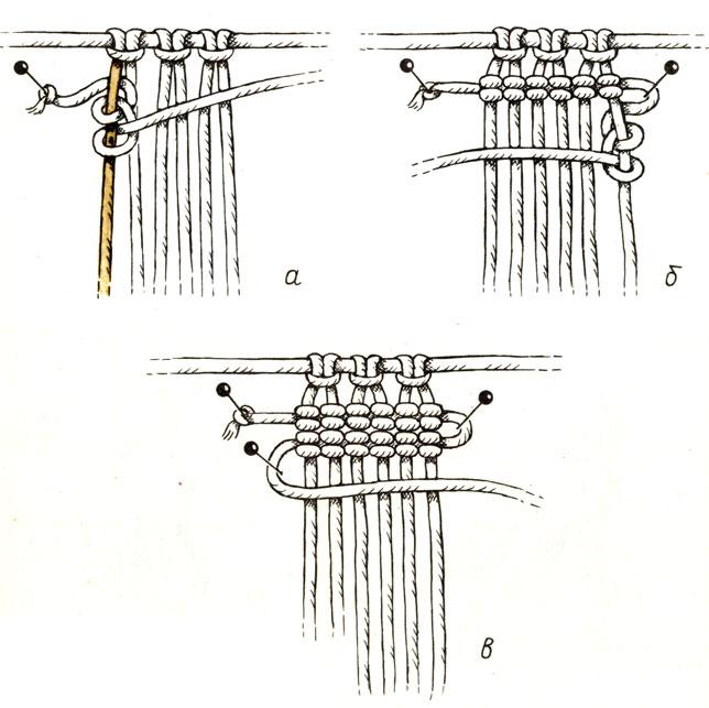 Рис. 38. Вертикальный репсовый узел: а - слева направо; б - справо налево; в - 2 горизонтальные бриды